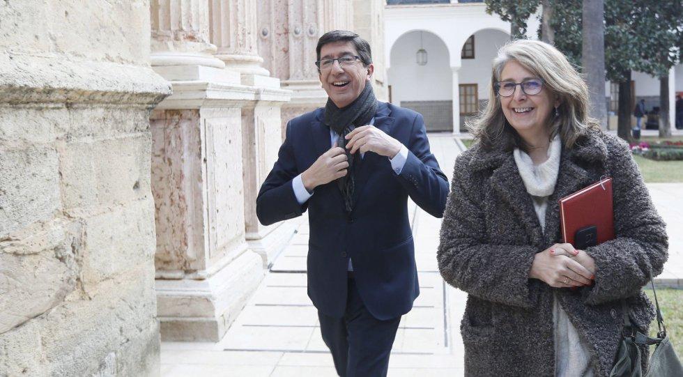El líder andaluz de Ciudadanos Juan Marín a su llegada al Parlamento de Andalucía
