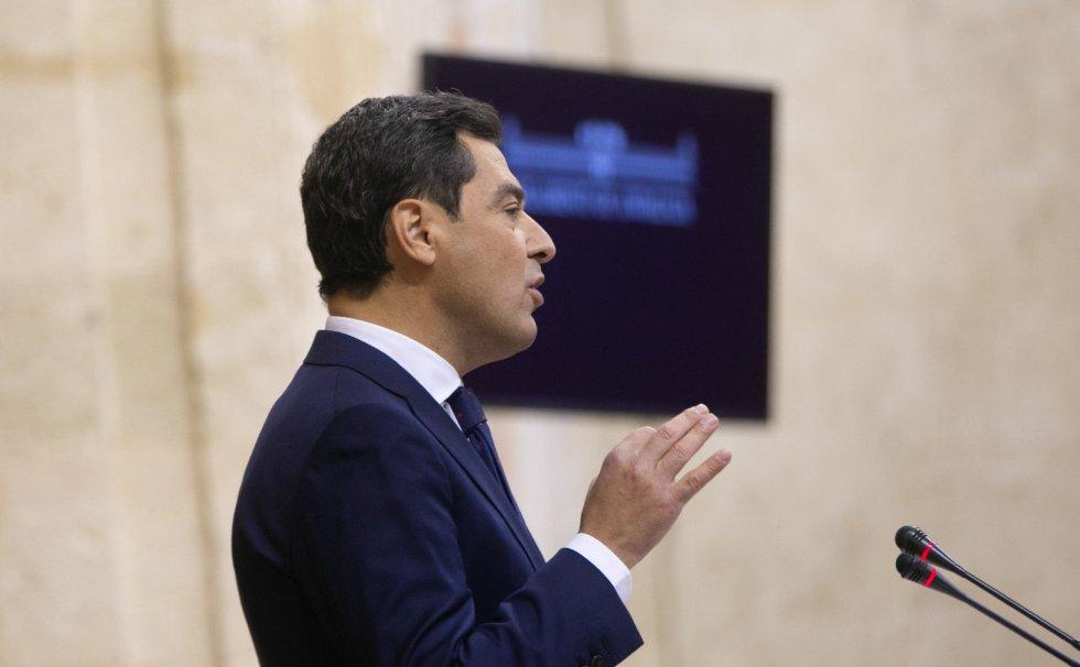 Momento del  debate de investidura de Juanma Moreno (PP-A) como presidente de la Junta