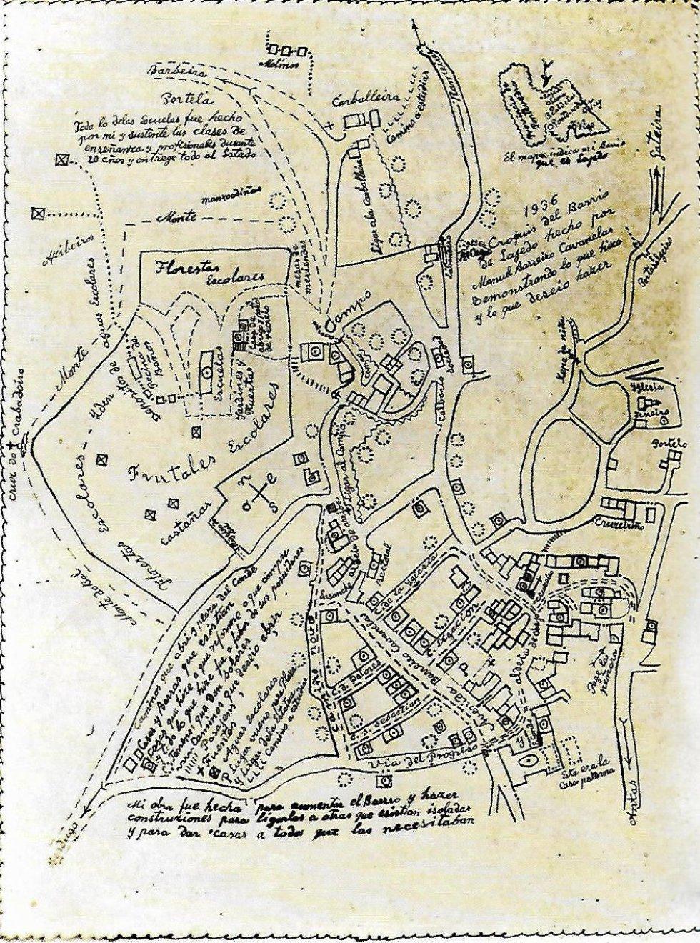 Mapa de Laxedo, A Lama, diseñado por el Conde Cabanelas