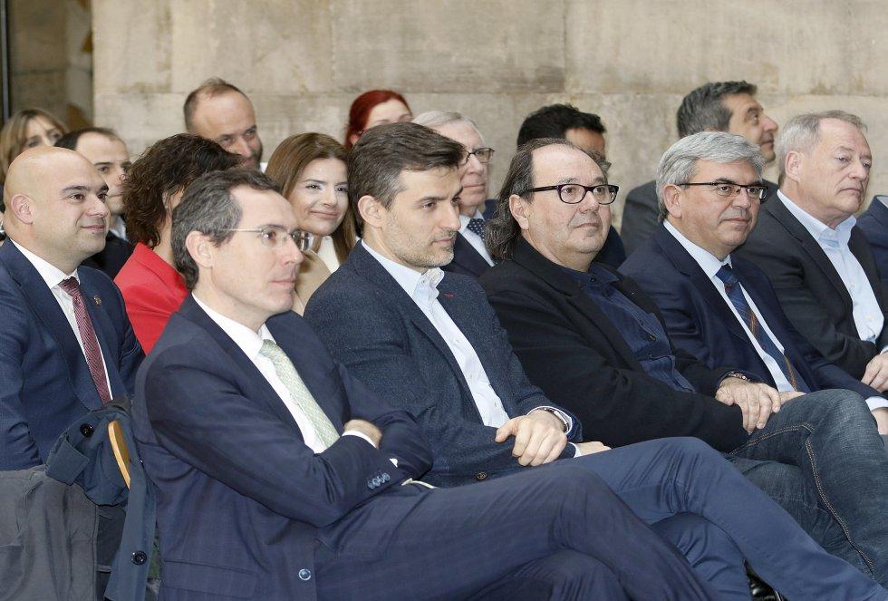 Los portavoces municipales durante la entrega (2018)
