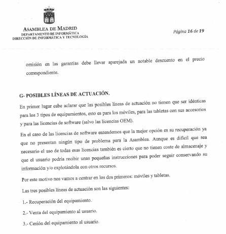 Informe del Departamento de Informática y Tecnología de la Asamblea de Madrid