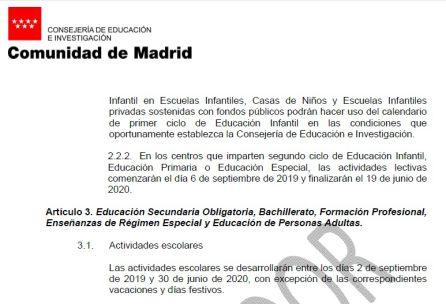Calendario Escolar 2020 Las Palmas.El Cole Empezara El 9 De Septiembre En Madrid Radio Madrid