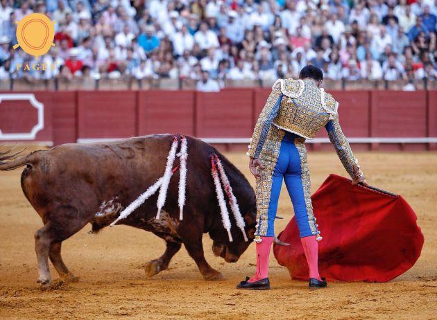 El Cid en un templado derechazo al segundo de su lote