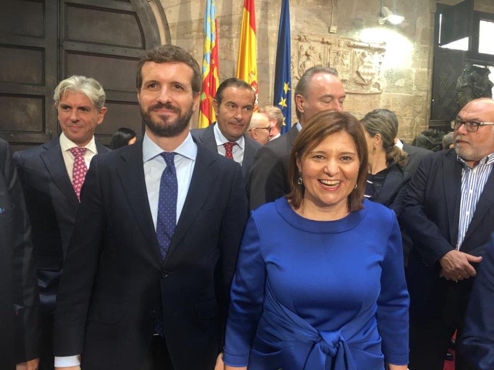 La líder del PP en la Comunitat Valenciana ha recibido al líder nacional del partido durante la celebración del día de la Comunitat