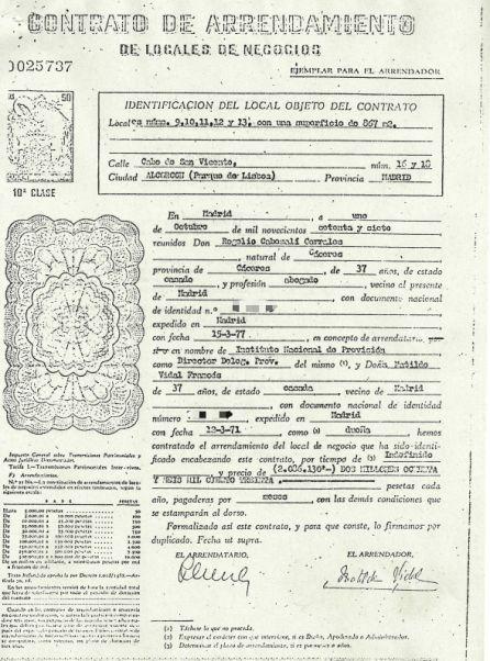 Contrado firmado en 1977 con la dueña del local de la calle Cabo San Vicente 14 de Alcorcón