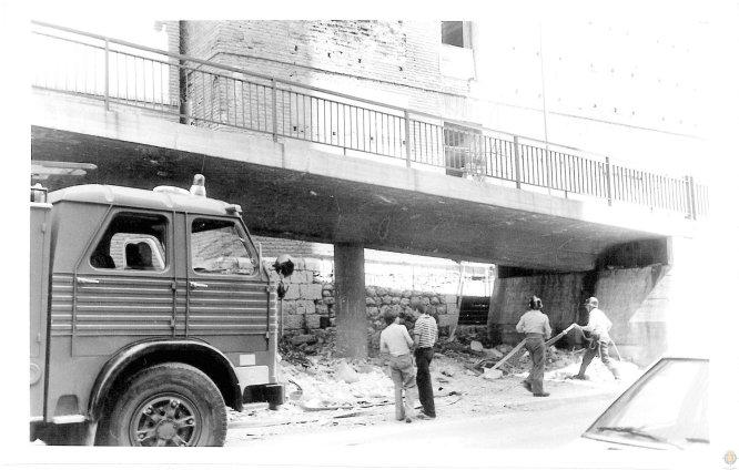Los bomberos intervienen en el antiguo Hospital Viejo en 1979