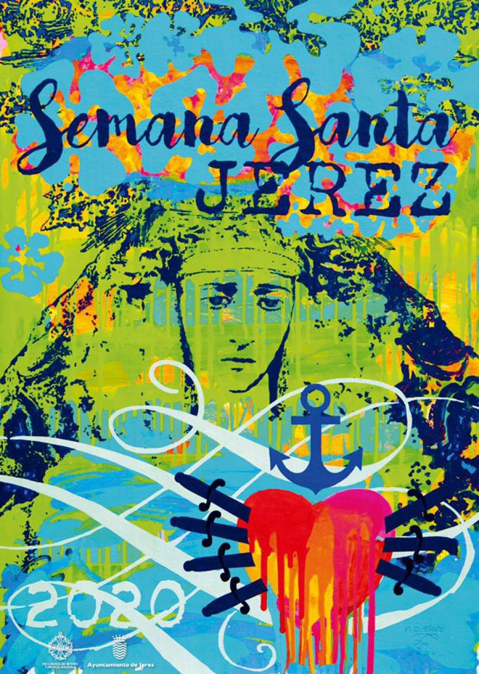 Comenzamos esta recopilación con el cartel 'art pop' de Manolo Cuervo para Jerez, en el que  Nuestra Señora de la Esperanza Coronada es la protagonista, junto a un corazón con los siete puñales y un ancla.