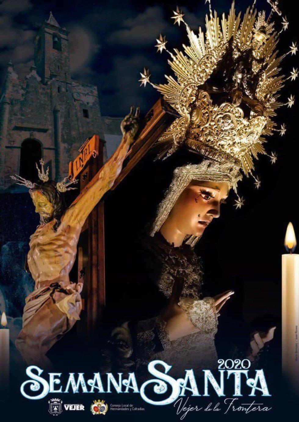 El cartel de la Semana Santa de Vejer de la Frontera muestra la imagen del Cristo de la Oliva y la Virgen de la Soledad en un montaje junto a la fachada de la Iglesia, obra del fotógrafo Javier Moreno y el diseñador Alberto Bermúdez.