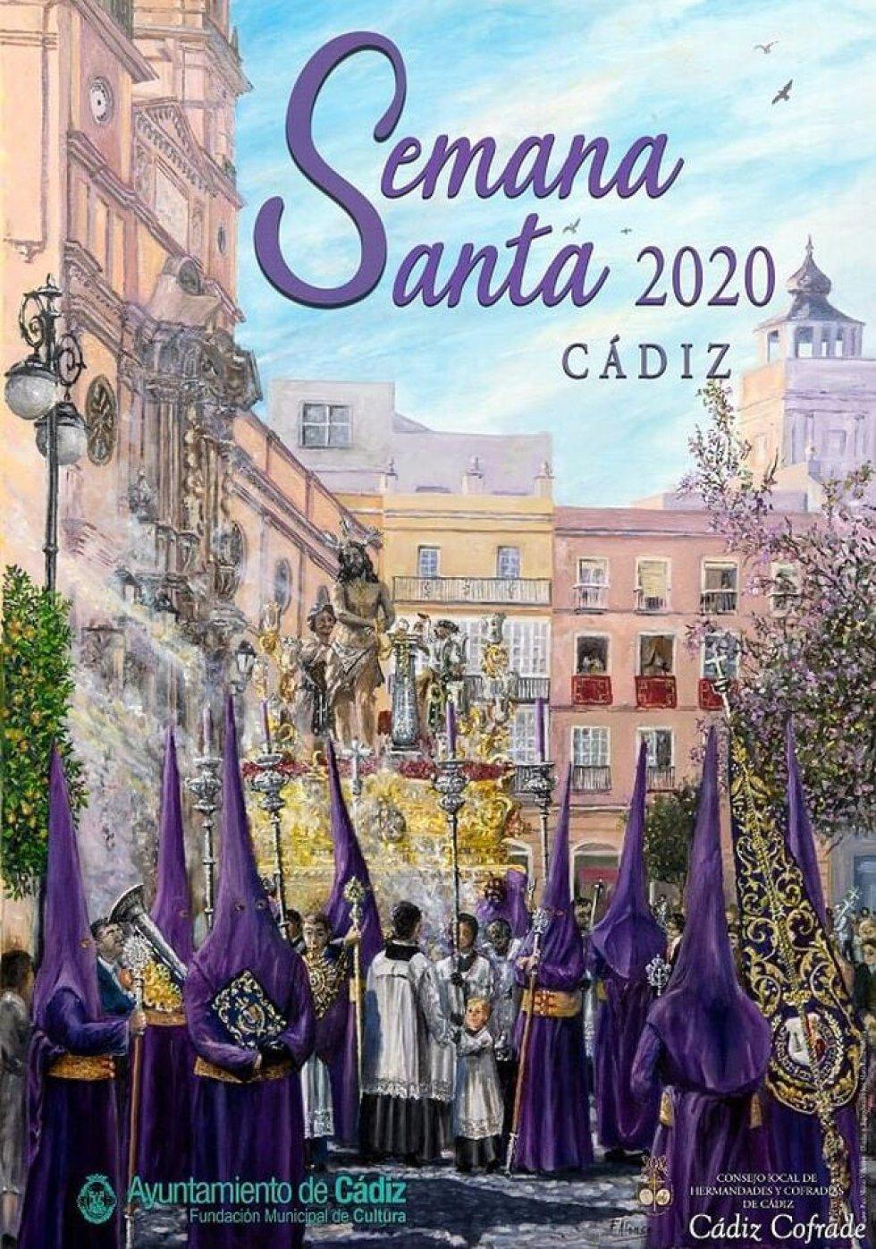 Nuestro Padre Jesús Atado a la Columna ilustra el cartel de la Semana Santa de Cádiz. Se muestra el paso de la Archicofradía de Columna al paso por la plaza de San Antonio, obra de Francisco Alonso Villalobos.