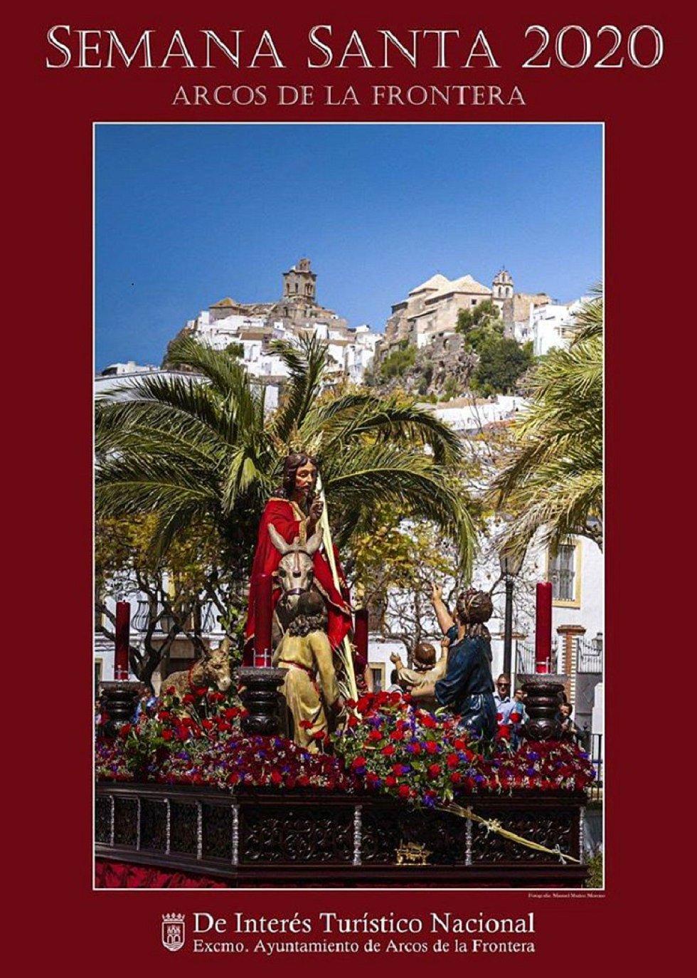 En la sierra, Arcos presenta su Semana Santa con una fotografía de Manuel Muñoz Moreno. El paso de 'La Borriquita' es el protagonista del cartel anunciandor de la Semana Mayor arcense.