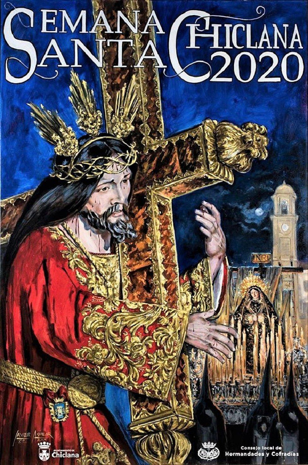 El cartel de la Semana Santa de Chiclana, que es una obra pictórica de Javier Aguilar Cejas, lo protagoniza Jesús Nazareno y la Virgen de la Soledad. También se puede apreciar en la pintura el arquillo del reloj, con la luna llena de fondo y nazarenos en la parte inferior izquierda.