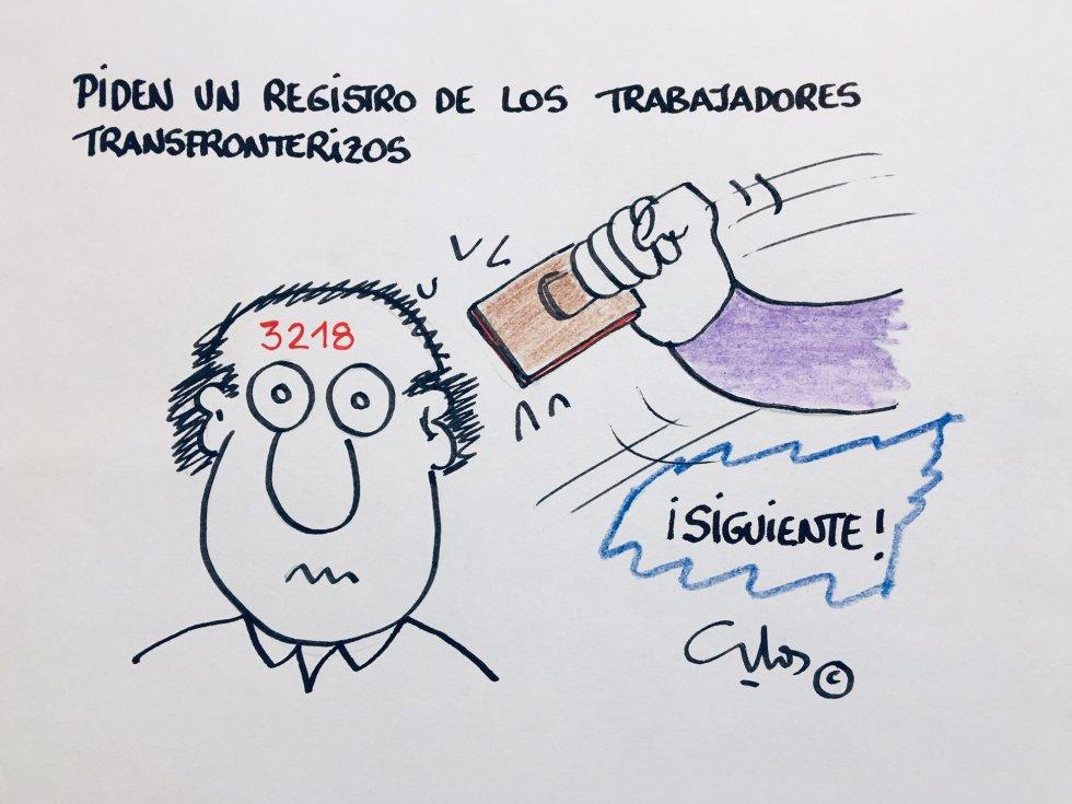La viñeta de Villanueva y el registro de trabajadores en Gibraltar