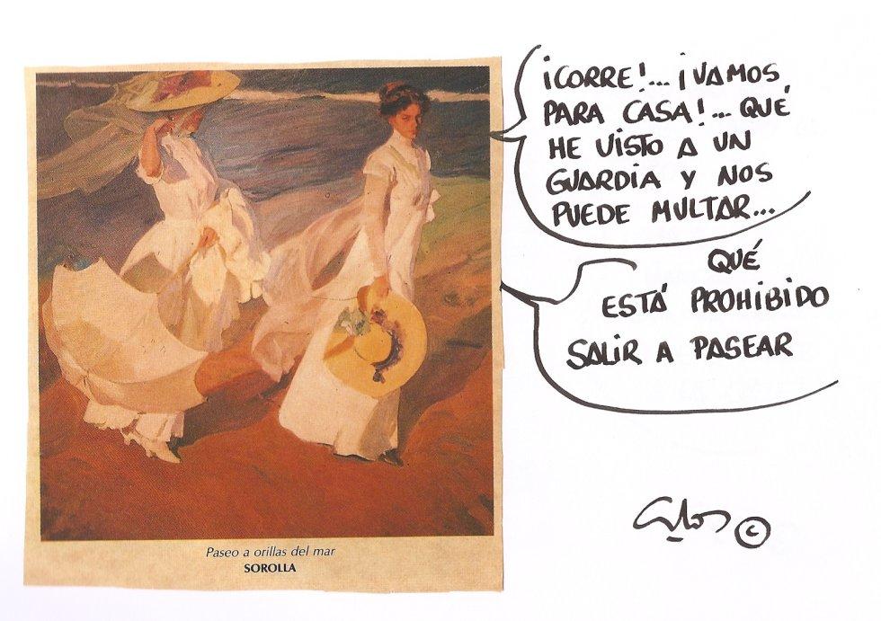 La viñeta de Villanueva, interpretación de Paseo por la Playa, obra del Maestro Sorolla.