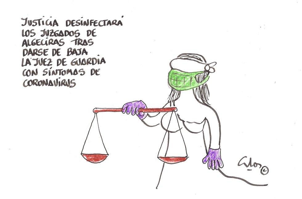 La viñeta de Villanueva, el virus en los juzgados de Algeciras.
