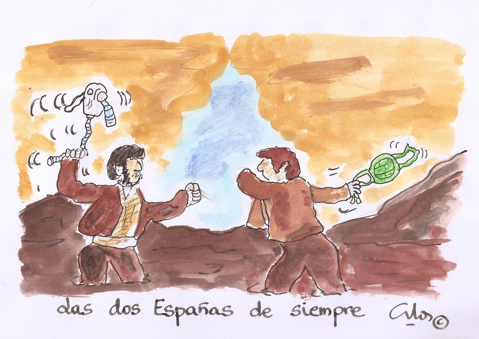 La viñeta Villanueva, las dos Españas.