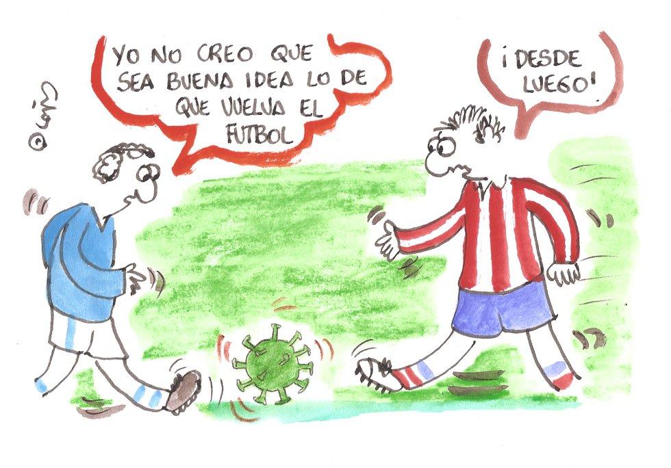 La viñeta de Villanueva, la vuelta del fútbol.