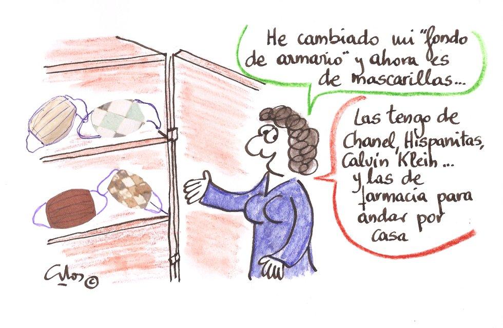 La viñeta de Villanueva, fondo de mascarillas.