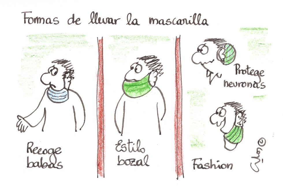 La viñeta de Villanueva, formas de llevar la mascarilla.