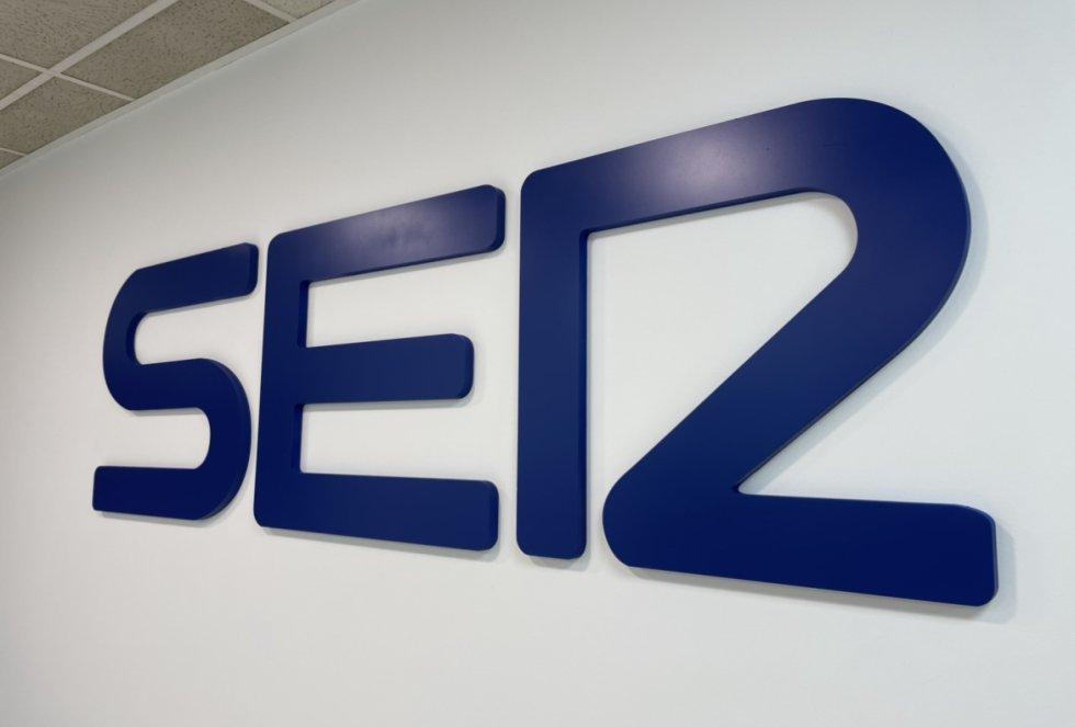 Logotico de la SER en las instalaciones de Prisa Radio en Málaga