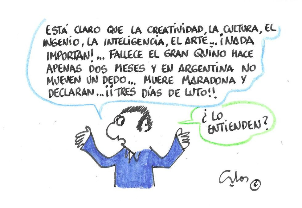 La viñeta de Villanueva, Quino y Maradona.