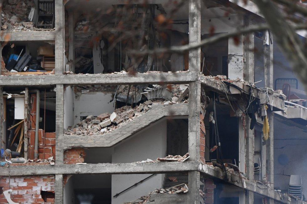 Detalle de la explosión que ha destrozado al menos un edificio del centro de Madrid.