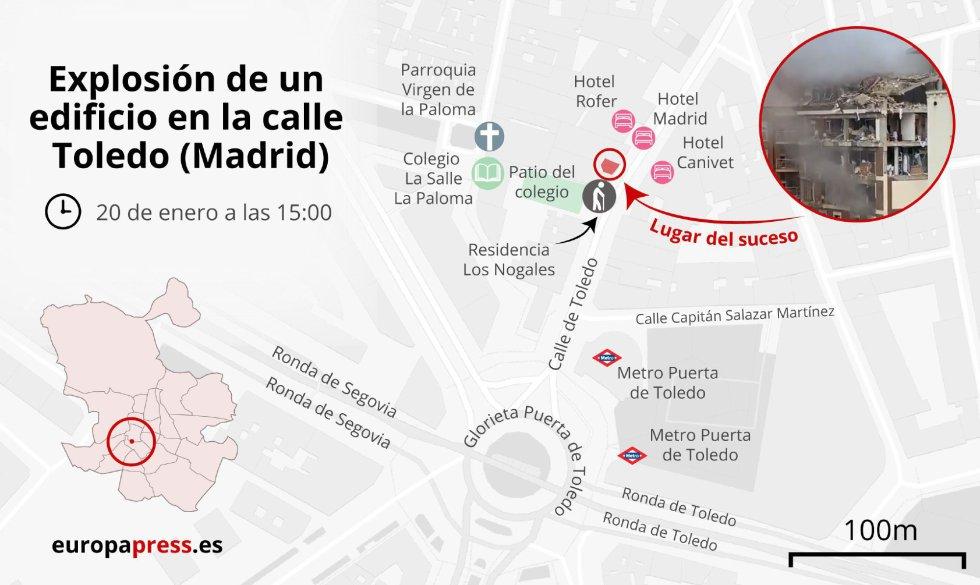 Mapa con el lugar de la explosión en un edificio el 20 de enero sobre las 15:00 en la calle Toledo (Madrid).