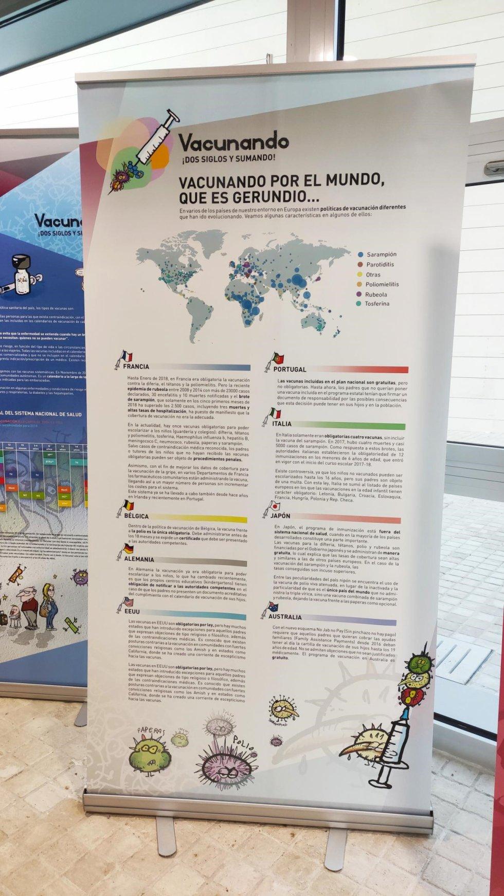 La exposición trata temas como bulos, dudas o el calendario de vacunación de nuestro país