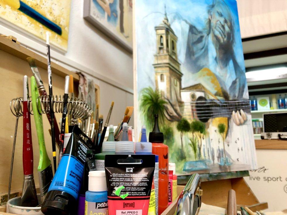 Elementos para la pintura de Paco de Lucía en la Plaza Alta