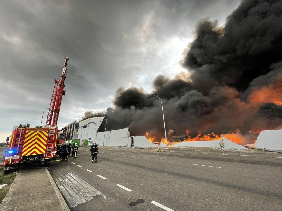 Incendio en una nave industrial de Seseña Nuevo (Toledo)