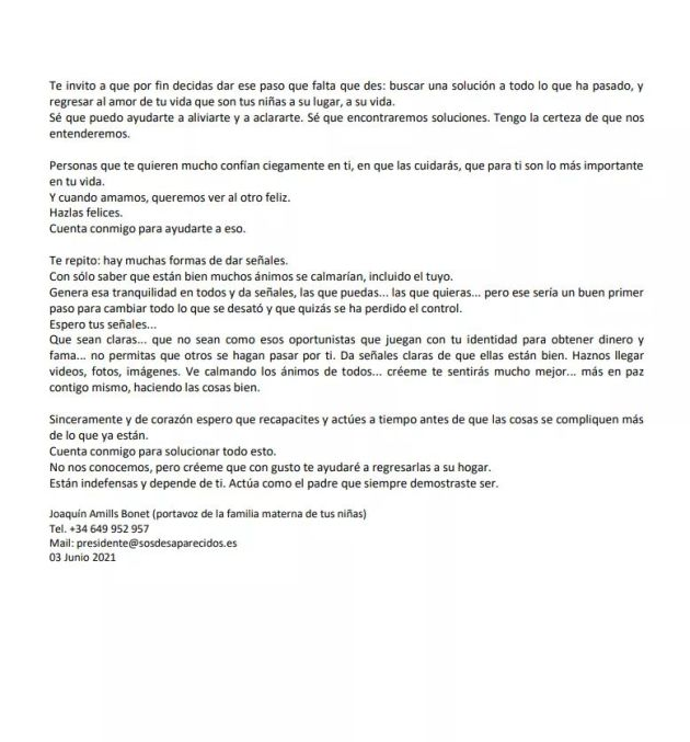 Letter to Tomás Gimeno