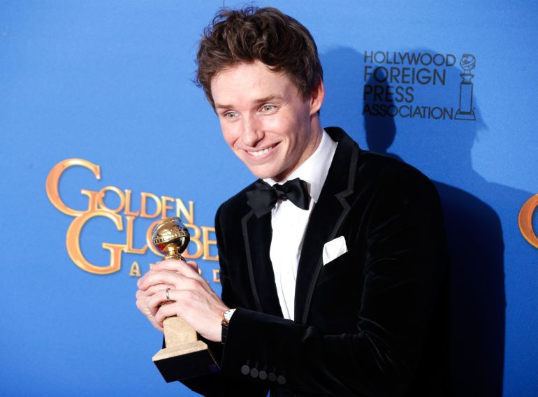 BEVERLY HILLS, CA - JANUARY 11:  Actor Eddie Redmayne poses in the press room during the 72nd Annual Golden Globe Awards at The Beverly Hilton Hotel on January 11, 2015 in Beverly Hills, California.  (Photo by Jeff Vespa/WireImage)