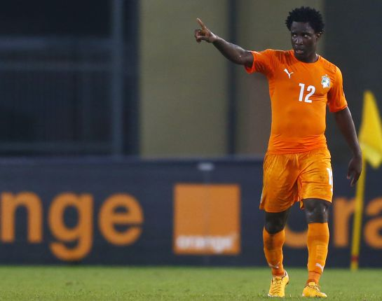 Ivory Coast's Wilfried Bony celebrates his second goal during their quarter-final soccer match of the 2015 African Cup of Nations against Algeria in Malabo February 1, 2015. REUTERS/Amr Abdallah Dalsh (EQUATORIAL GUINEA - Tags: SPORT SOCCER)