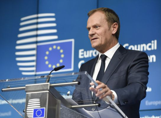 EU Council president Donald Tusk holds a joint press conference with EU Commission president during a European Council summit at the Council of the European Union (EU) Justus Lipsius building in Brussels on March 20, 2015. AFP PHOTO / JOHN THYS