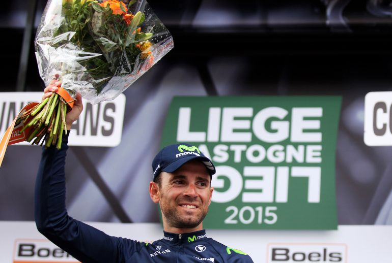 LIEGE, BELGIUM - APRIL 26:  Alejandro Valverde of Spain and Movistar Team celebrates following his victory during the 101st Liege-Bastogne-Liege cycle road race on April 21, 2013 in Liege, Belgium. (Photo by Bryn Lennon/Getty Images).  (Photo by Bryn Lennon/Getty Images)