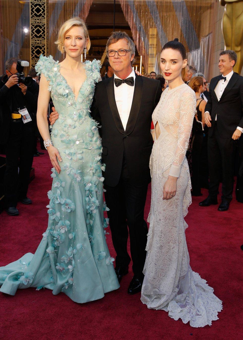 Cate Blanchett, el director Todd Haynes y la actriz Rooney Mara