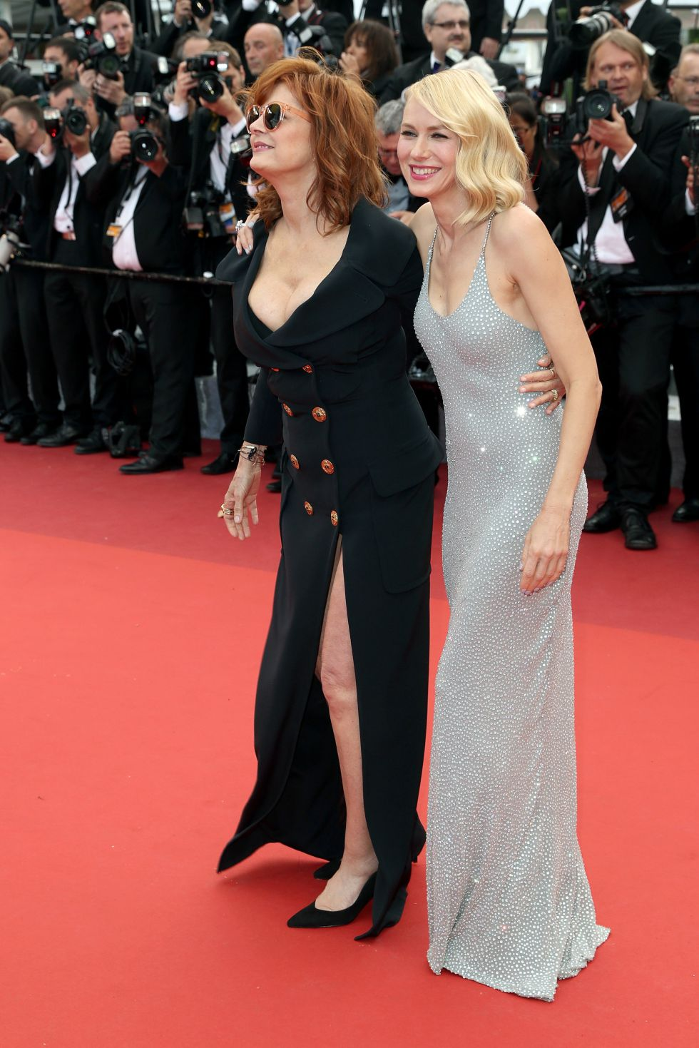 """CANNES, FRANCE - MAY 12: Susan Sarandon and Naomi Watts attend the screening of """"Money Monster"""" at the annual 69th Cannes Film Festival at Palais des Festivals on May 12, 2016 in Cannes, France. (Photo by Luca Teuchmann/WireImage)"""