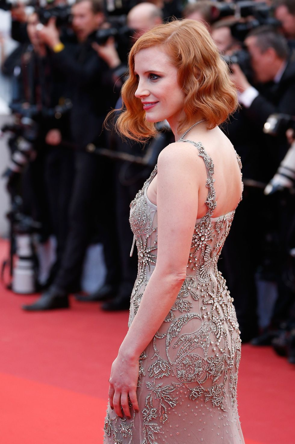 """CANNES, FRANCE - MAY 12: Jessica Chastain attends the screening of """"Money Monster"""" at the annual 69th Cannes Film Festival at Palais des Festivals on May 12, 2016 in Cannes, France. (Photo by Luca Teuchmann/WireImage)"""