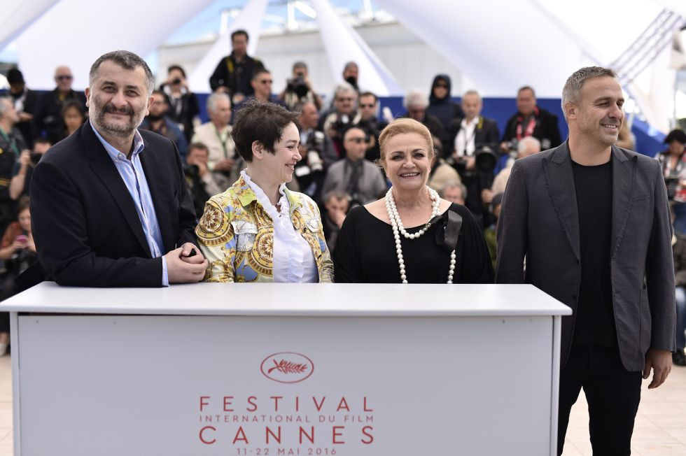 """CANNES, FRANCE - MAY 12: (L-R) Mimi Branescu, Anca Puiu, Dana Dogaru, and Cristi Puiu attend the """"Sieranevada"""" photocall during the 69th annual Cannes Film Festival at the Palais des Festivals on May 12, 2016 in Cannes, France. (Photo by Pascal Le Segretain/Getty Images)"""