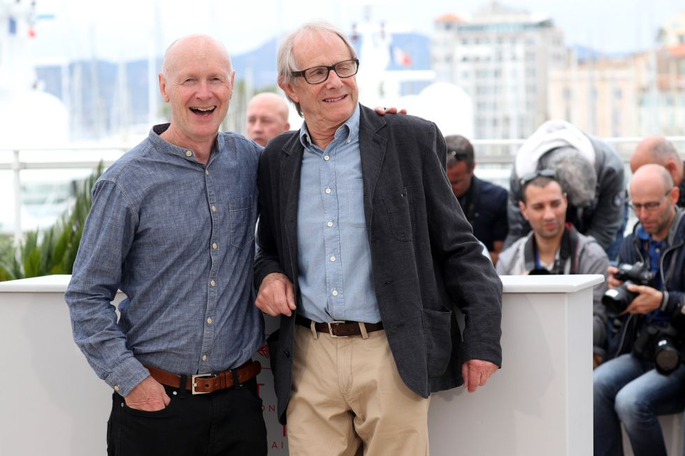"""CANNES, FRANCE - MAY 13: (L-R) Screenwriter Paul Laverty and director Ken Loach attend the """"I, Daniel Black (Moi, Daniel Black)"""" photocall during the 69th annual Cannes Film Festival at the Palais des Festivals on May 13, 2016 in Cannes, France. (Photo by Andreas Rentz/Getty Images)"""