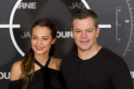 "MADRID, SPAIN - JULY 13: Actor Matt Damon and actress Alicia Vikander attend ""Jason Bourne"" photocall at Villamagna Hotel on July 13, 2016 in Madrid, Spain. (Photo by Juan Naharro Gimenez/Getty Images)"