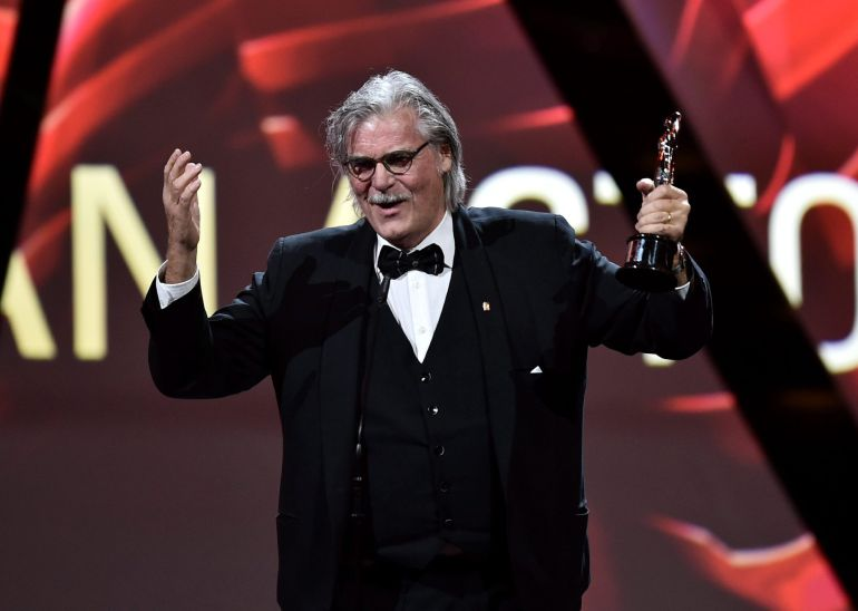 Austrian actor Peter Simonischek speaking on stage after accepting the European Actor award during the 29th European Film Awards ceremony in Wroclaw, Poland, 10 December 2016. The awards are presented annually by the European Film Academy to recognize excellence