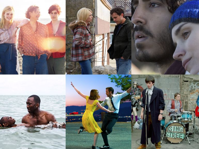 Seis películas nominadas al Globo de Oro: 20th century women, Manchester by the sea, Lion, Moonlight, La la land y Sing street