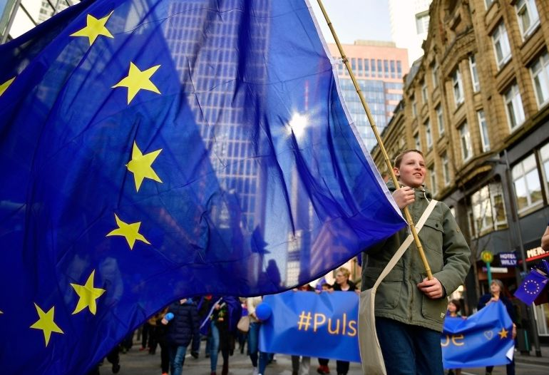 "Around  3.500 People attend a pro-EU demonstration of the ""Pulse of Europe"" movement on March 12, 2017 in Frankfurt, Germany. The movement sprung up in 2016 after the Brexit referendum result and the election of U.S. President Donald Trump as a pro-European voice to counter isolationist, right-wing movements across Europe. The movement is gaining momentum and today organized gatherings in approximately 40 cities throughout Europe."