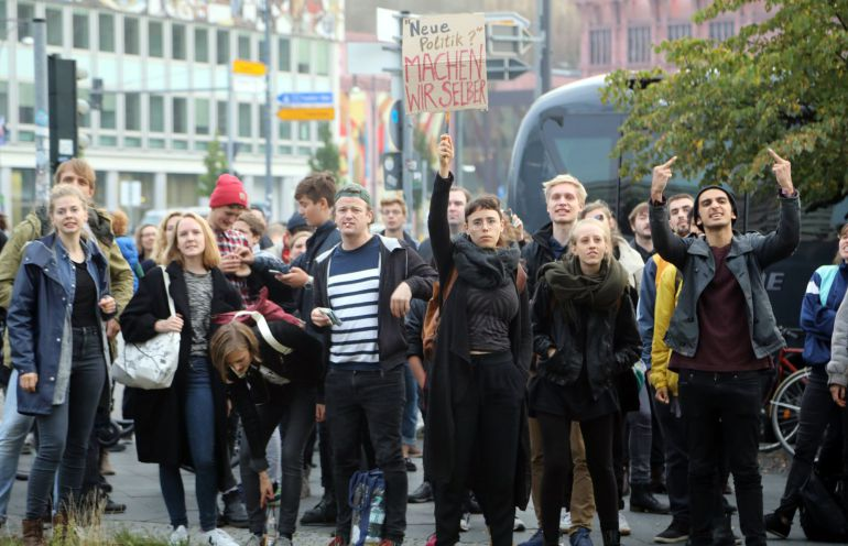 Protest against the Alternative for Germany (AfD) party where AfD holds their election event in Berlin, Germany, 24 September 2017. According to federal election commissioner more than 61 million people are eligible to vote in the elections for a new federal parliament, the Bundestag, in Germany.