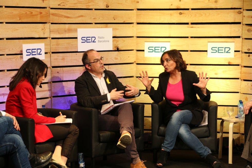 Miquel Iceta (PSC), Xavier Domènech (Catalunya en Comú-Podem), Inés Rrimadas (Ciudadanos), Carles Riera (CUP), Xavier García Albiol (PP),  Jordi Turull (Junts per Catalunya) y Ernest Maragall (ERC)