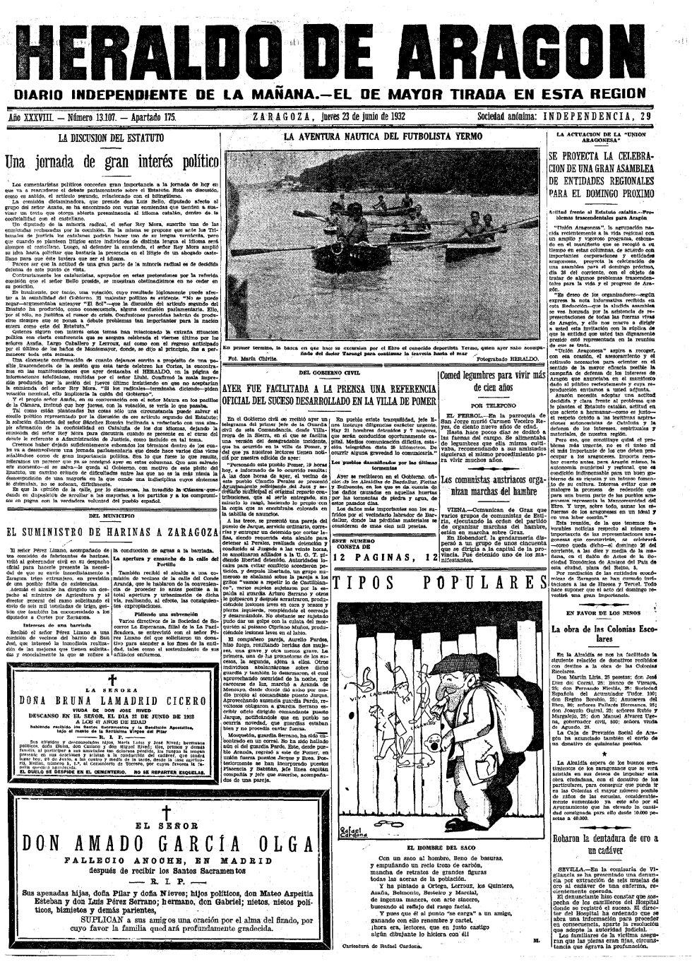 Periódico HERALDO DE ARAGÓN. Fecha: 23 de junio de 1932. Portada. Enlace: www.heraldo.es