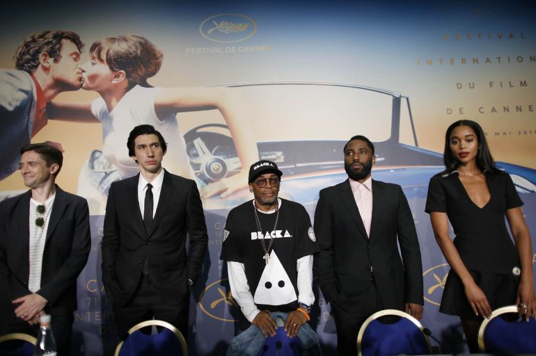 "Conference for the film ""BlacKkKlansman"" in competition - Cannes, France, May 15, 2018. Director Spike Lee with cast members Adam Driver, Topher Grace, Laura Harrier, John David Washington"