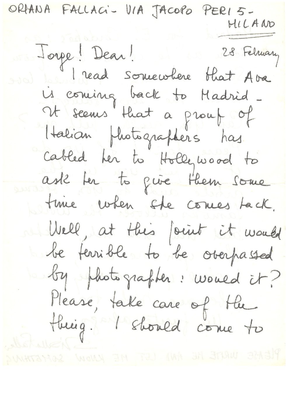 Mensaje de Oriana Fallaci sobre AVA