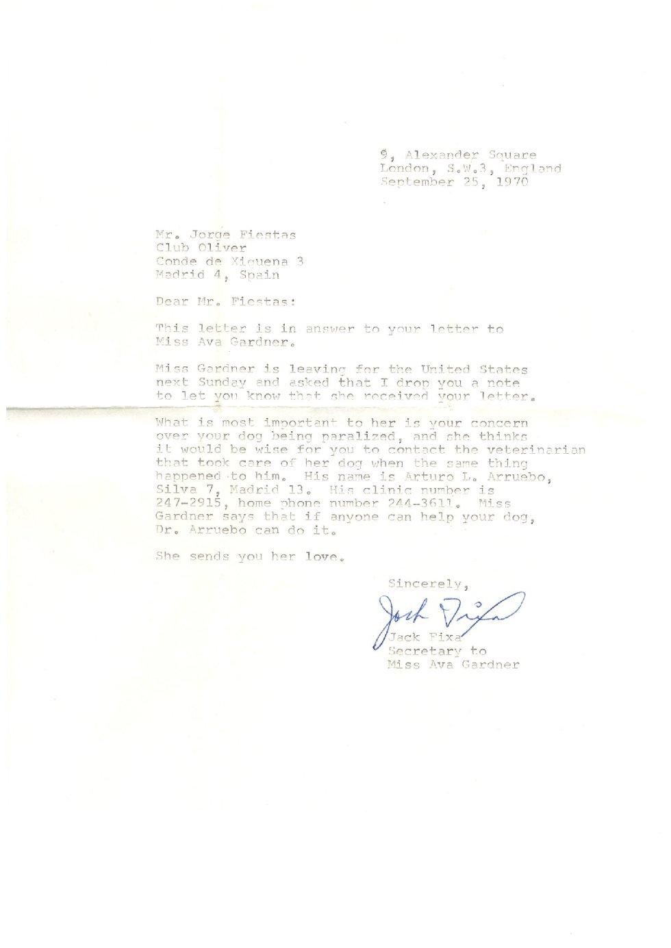 Las cartas inéditas de Ava Gardner con su amigo Jorge Fiestas