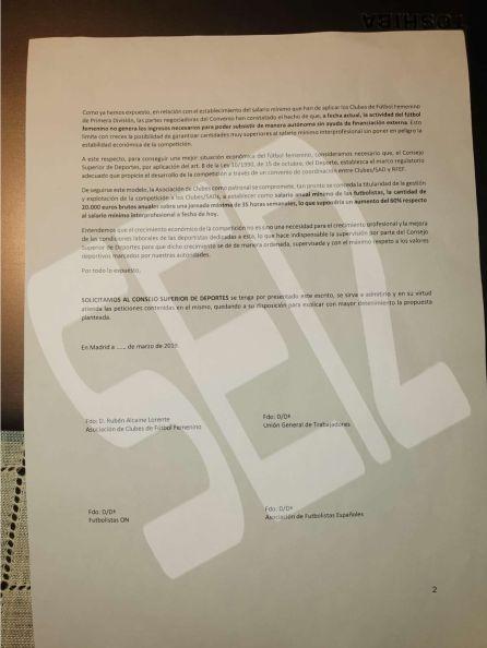 La segunda página de la carta a la que ha tenido acceso El Larguero